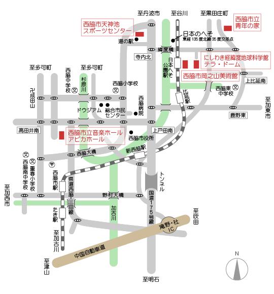 財団運営施設のエリアマップ